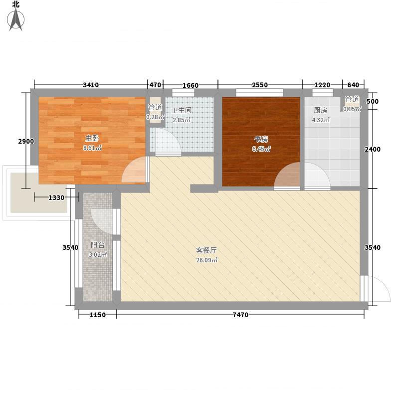 筑石・松花江新城77.42㎡一期4、5号楼标准层B1-1户型2室2厅1卫1厨