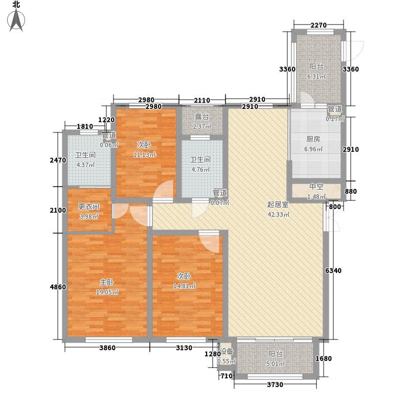 海富第五大道108.57㎡二期高层户型3室2厅2卫1厨