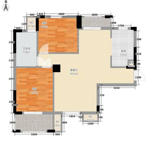 新天地华庭2室1厅1卫0厨70.71㎡户型图
