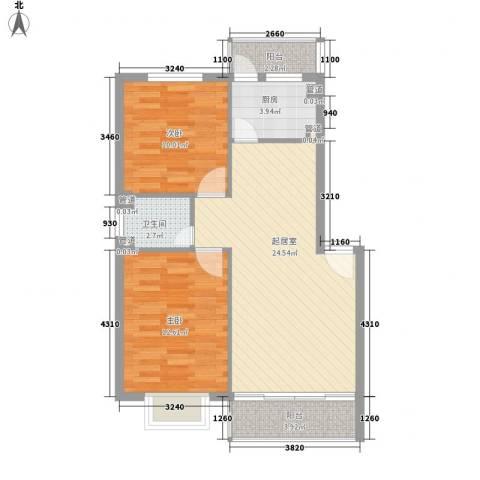 金地滨河国际社区2室0厅1卫1厨86.00㎡户型图