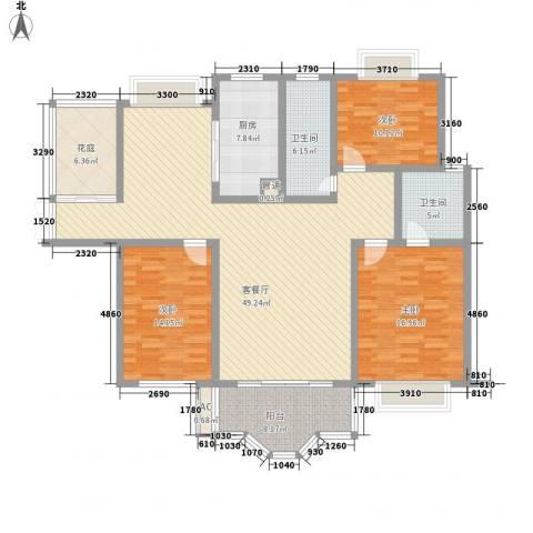 振业山水名城3室1厅2卫1厨160.00㎡户型图