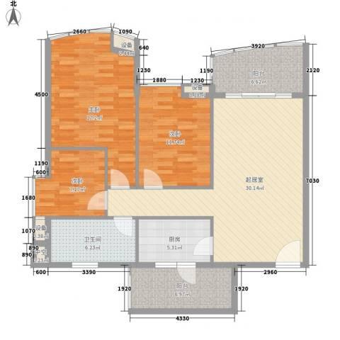 厚街东港城3室0厅1卫1厨116.00㎡户型图