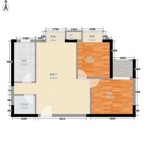 宏府�翔九天2室1厅1卫1厨69.78㎡户型图