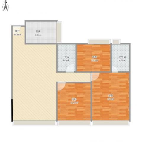 中澳世纪城3室1厅2卫1厨116.00㎡户型图
