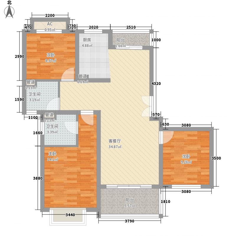 汇丽花园118.50㎡户型3室2厅2卫1厨