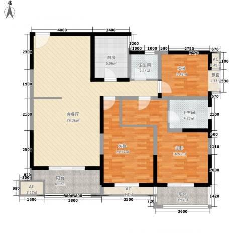 宏府�翔九天3室1厅2卫1厨122.81㎡户型图