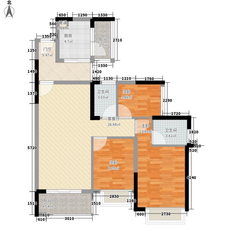 雅居乐万象郡115.00㎡6栋1座01户型3室2厅2卫1厨