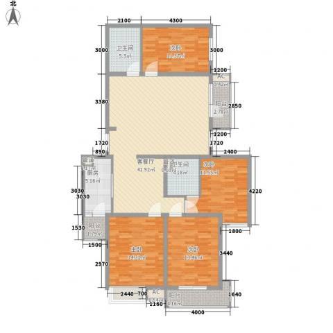 君泰风尚国际4室1厅2卫1厨172.00㎡户型图