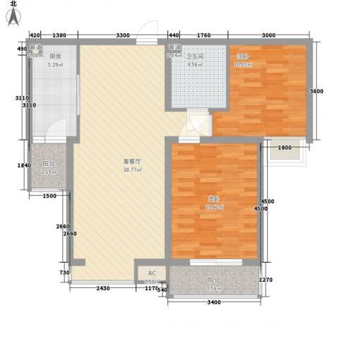 君泰风尚国际2室1厅1卫1厨101.00㎡户型图