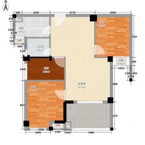 阳光城新界3室0厅1卫1厨86.00㎡户型图