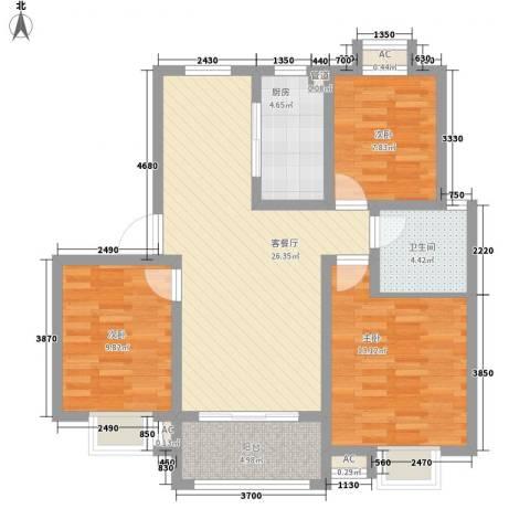 盛世景园3室1厅1卫1厨106.00㎡户型图