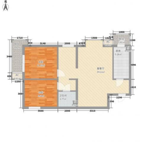 君泰风尚国际2室1厅1卫1厨102.00㎡户型图