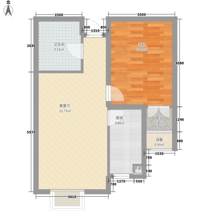 升达置地广场64.45㎡L户型1室2厅1卫
