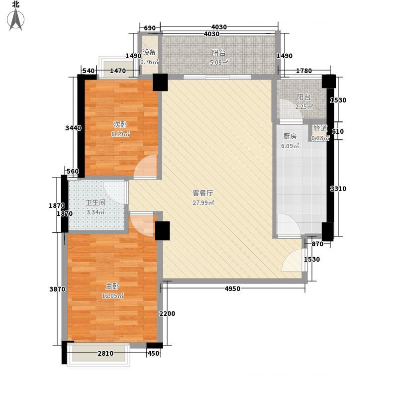 融昌邕江银座86.65㎡银座3号2-07户型2室2厅1卫1厨