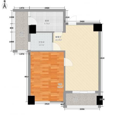 名门世家1室1厅1卫1厨66.00㎡户型图