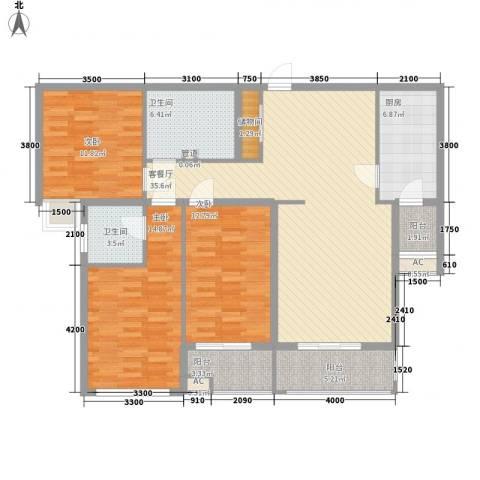 君泰风尚国际3室1厅2卫1厨149.00㎡户型图