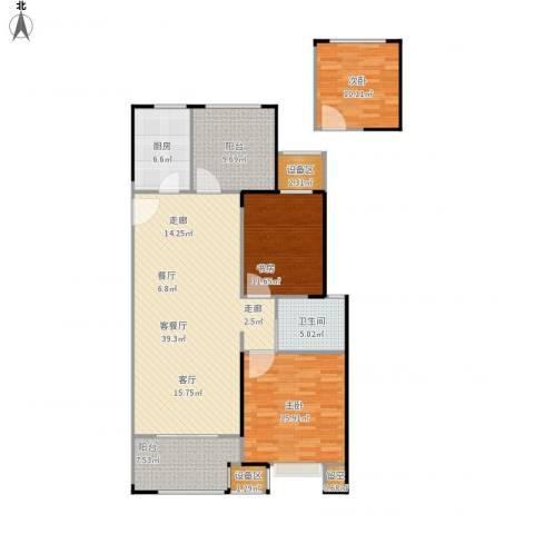 路劲城市主场3室1厅1卫1厨148.00㎡户型图