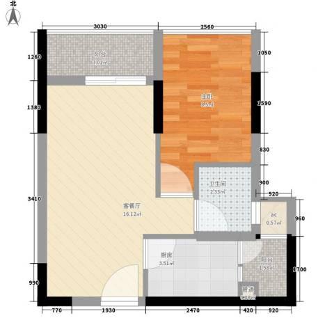 泊林花园1室1厅1卫1厨52.00㎡户型图