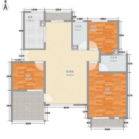 顺驰美兰3室0厅2卫1厨92.99㎡户型图