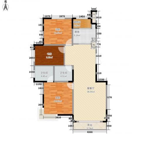一品红城五期3室1厅2卫1厨125.00㎡户型图