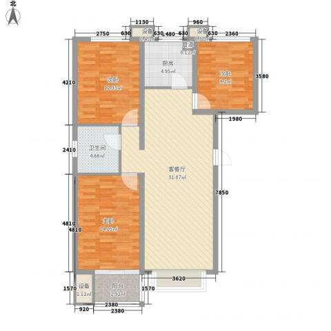 升达置地广场3室1厅1卫1厨118.00㎡户型图