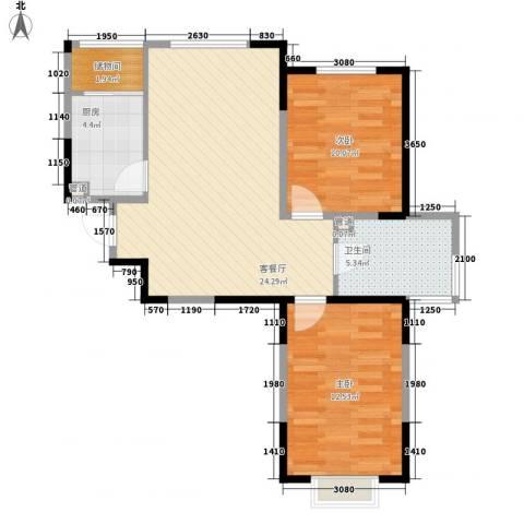 一品红城五期2室1厅1卫1厨75.00㎡户型图