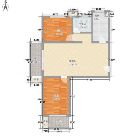 升达置地广场2室1厅1卫1厨77.88㎡户型图