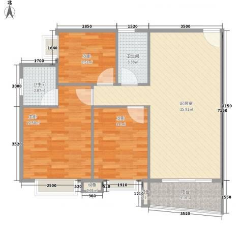 天一新村3室0厅2卫0厨87.00㎡户型图