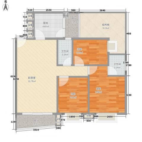 天一新村3室0厅2卫1厨97.00㎡户型图