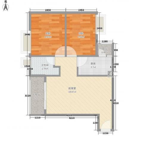 天一新村2室0厅1卫1厨63.00㎡户型图