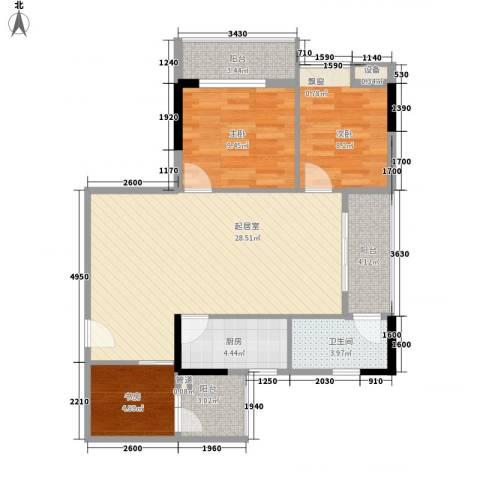 美荔心筑3室0厅1卫1厨98.00㎡户型图