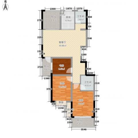 碧水华庭3室1厅2卫1厨124.00㎡户型图