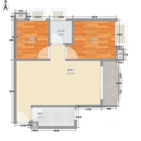 天一新村2室1厅1卫1厨54.00㎡户型图