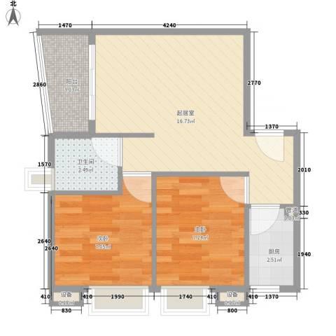 天一新村2室0厅1卫1厨55.00㎡户型图