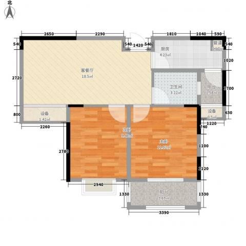 五洲幸福湾2室1厅1卫1厨78.00㎡户型图