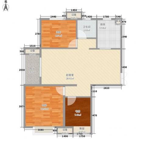 五洲幸福湾3室0厅1卫1厨101.00㎡户型图