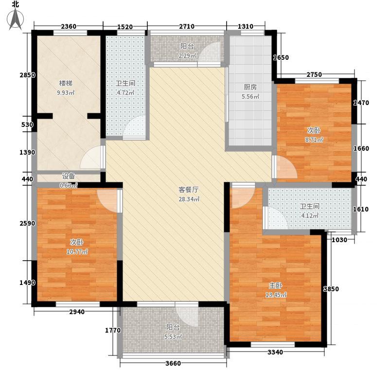 恒通帝景蓝湾133.00㎡D型户型3室2厅2卫1厨