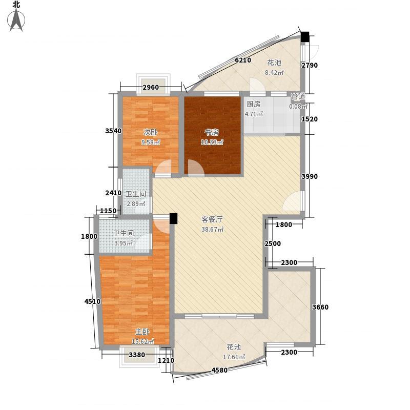 瑞景公园14.00㎡12#楼标准层-D户型3室2厅2卫1厨