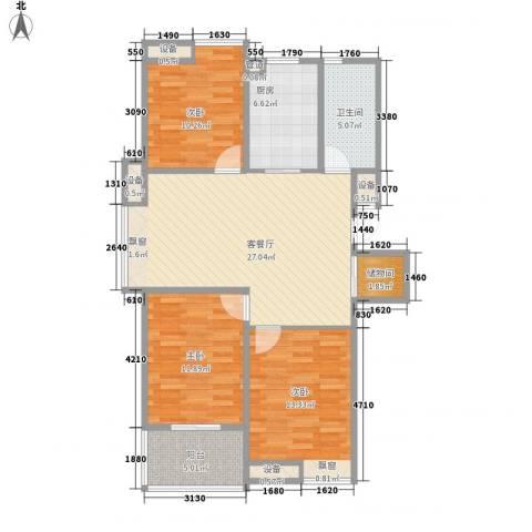 彩弘国际3室1厅1卫1厨117.00㎡户型图
