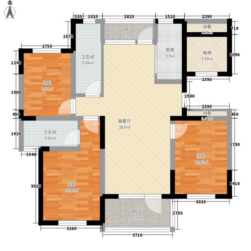 恒通帝景蓝湾128.00㎡B型户型3室2厅2卫1厨
