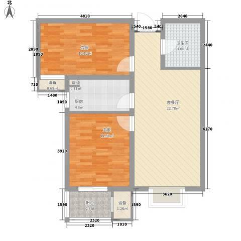 升达置地广场2室1厅1卫1厨82.00㎡户型图
