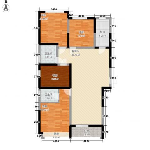 鸿泰嘉园三期4室1厅2卫1厨148.00㎡户型图