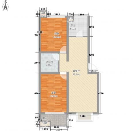 升达置地广场2室1厅1卫1厨66.93㎡户型图