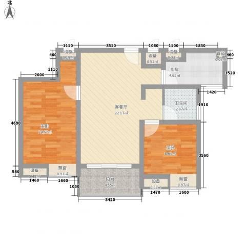 彩弘国际2室1厅1卫1厨90.00㎡户型图