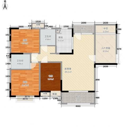 五洲幸福湾3室0厅2卫1厨128.00㎡户型图
