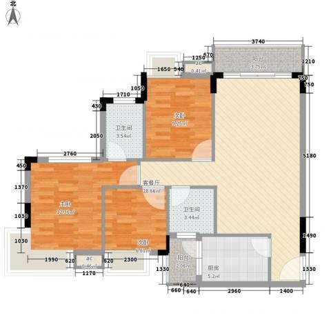 长安长盛新村3室1厅2卫1厨117.00㎡户型图