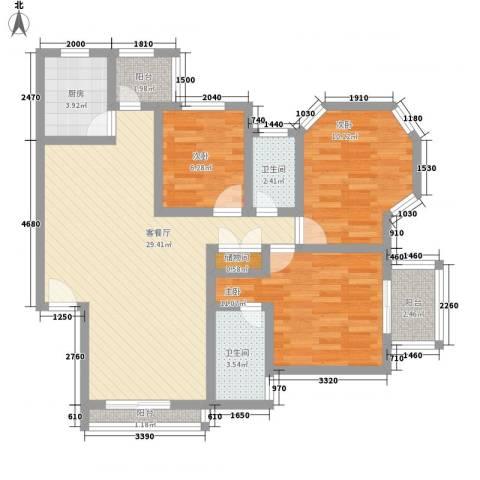 万科四季花城五期3室1厅2卫1厨109.00㎡户型图