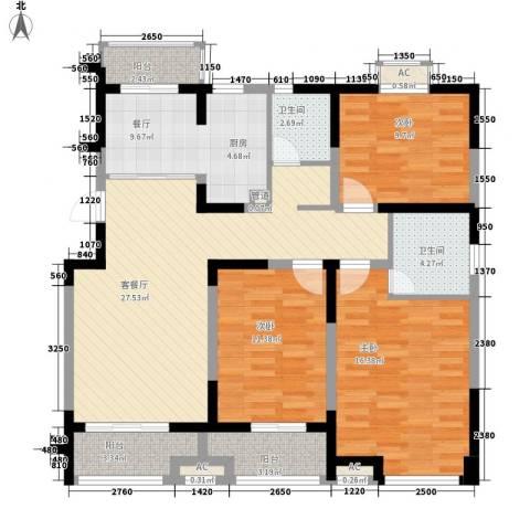 西郡188花园3室2厅2卫0厨135.00㎡户型图