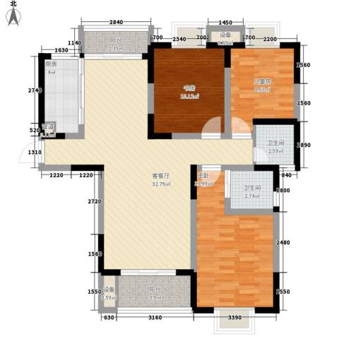 荣亨逸都3室1厅2卫1厨121.00㎡户型图