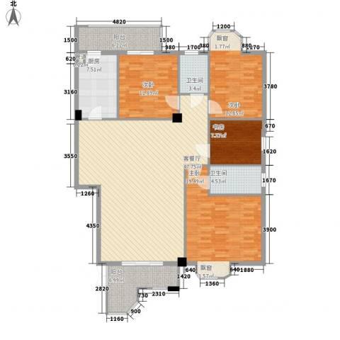 信义一号4室1厅2卫1厨176.00㎡户型图